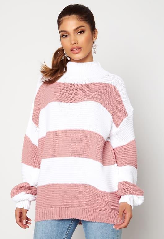 Stickad randig tröja i rosa och vit