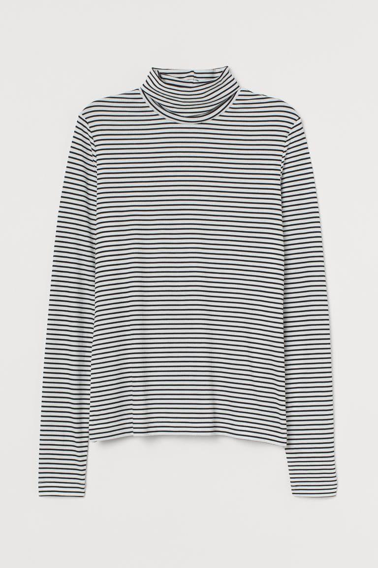 Billig randig tröja med turtleneck