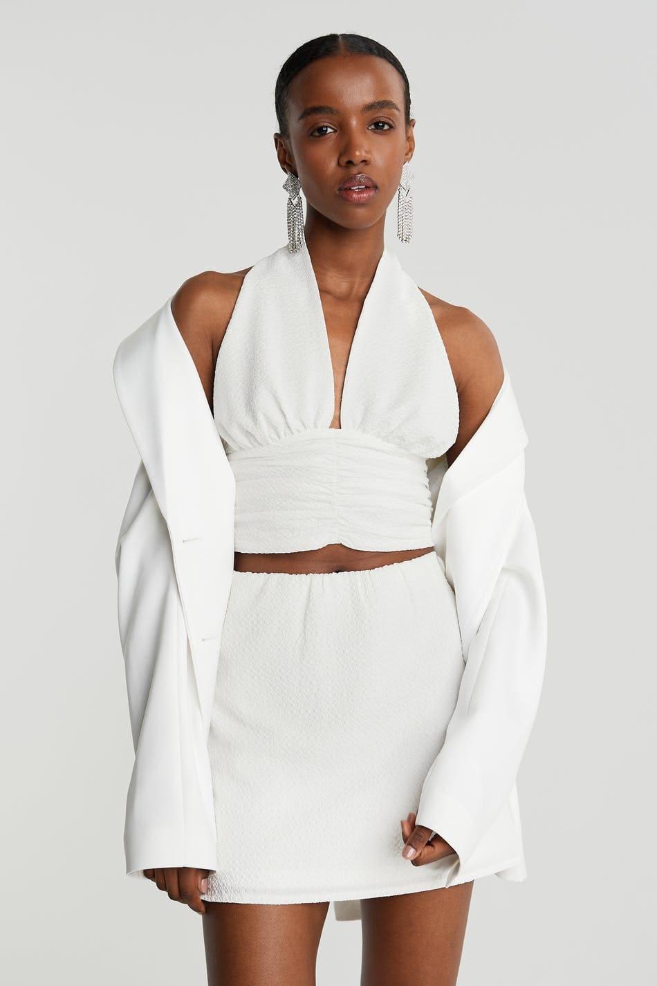 Vit kort kjol för dam 2021