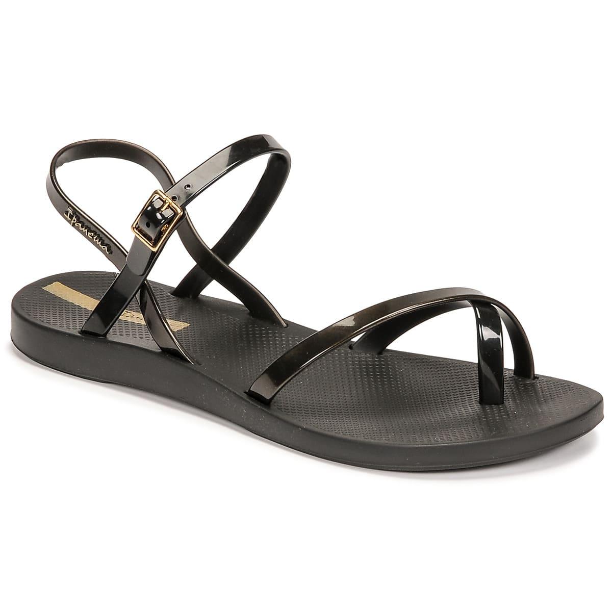 Sköna svarta sandaler med tunna band för dam 2021