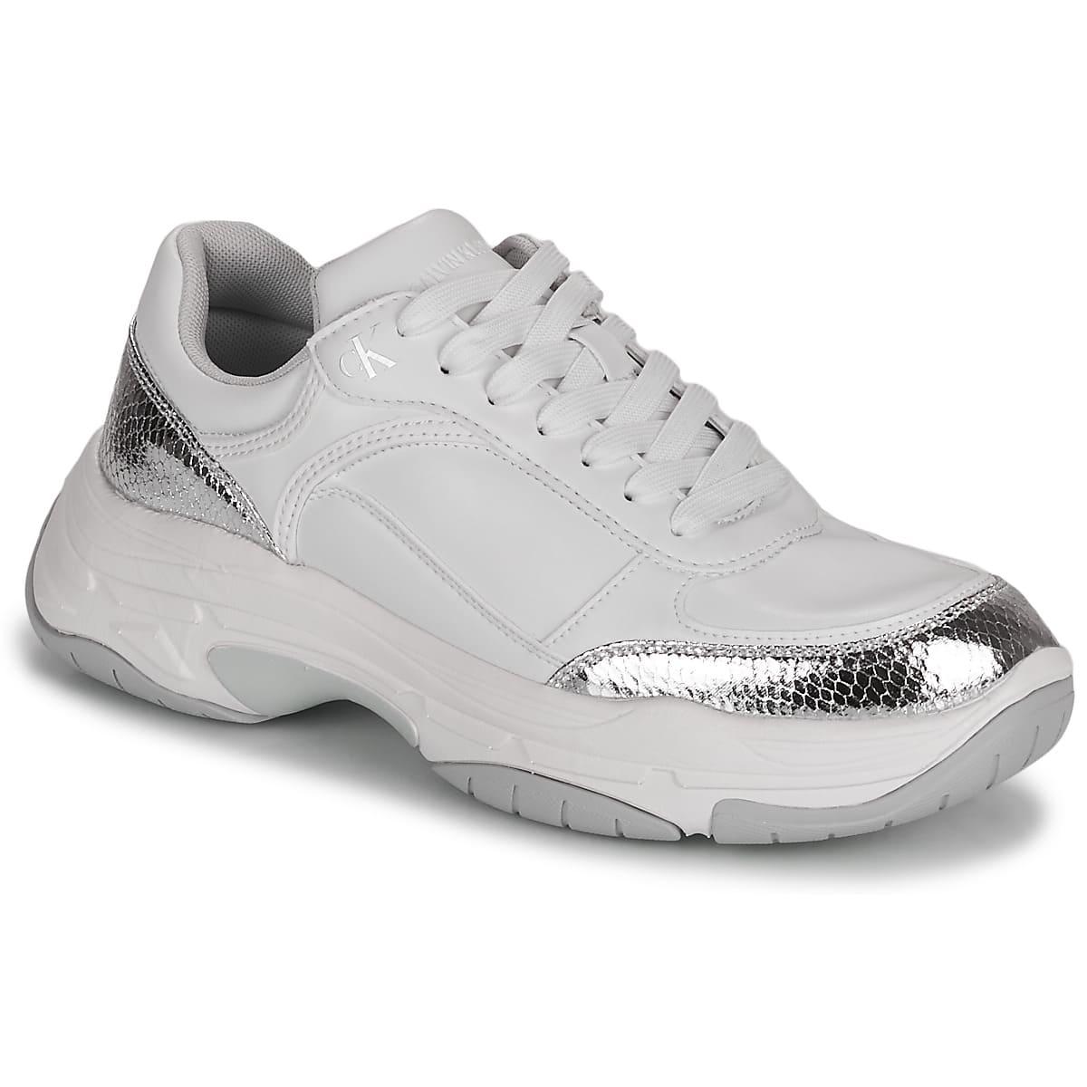 Trendiga chunky sneakers med silver detaljer