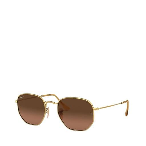 Runda solglasögon med brunt glas för dam