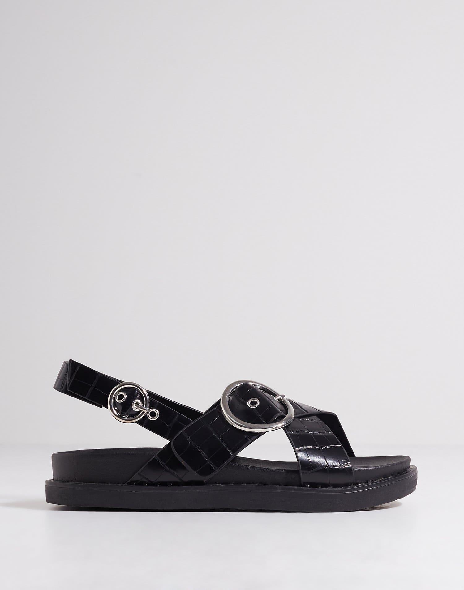 Svarta sandaler från Glamorous med crocomönster