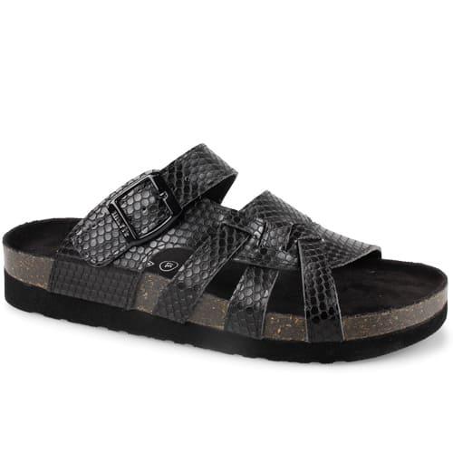 Fotriktiga breda sandaler Sköna Marie Kelly Black Snake med ormskinnspräglat mönster