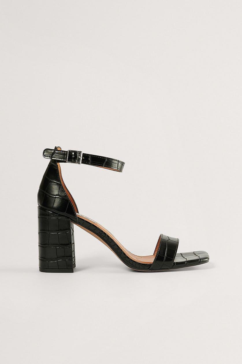 Svarta sandaler med blockklack 2021