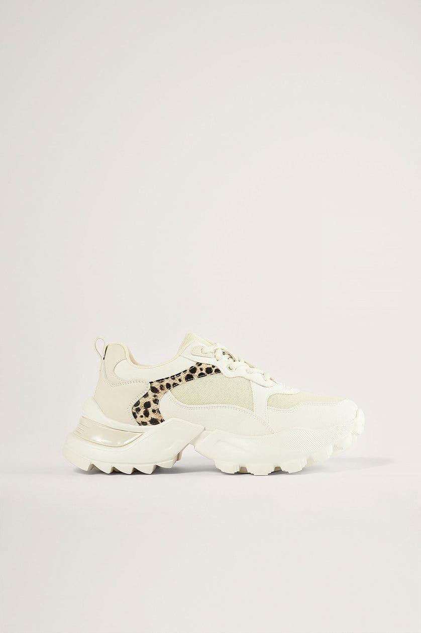 Chunky träningsskor med leopardmönster