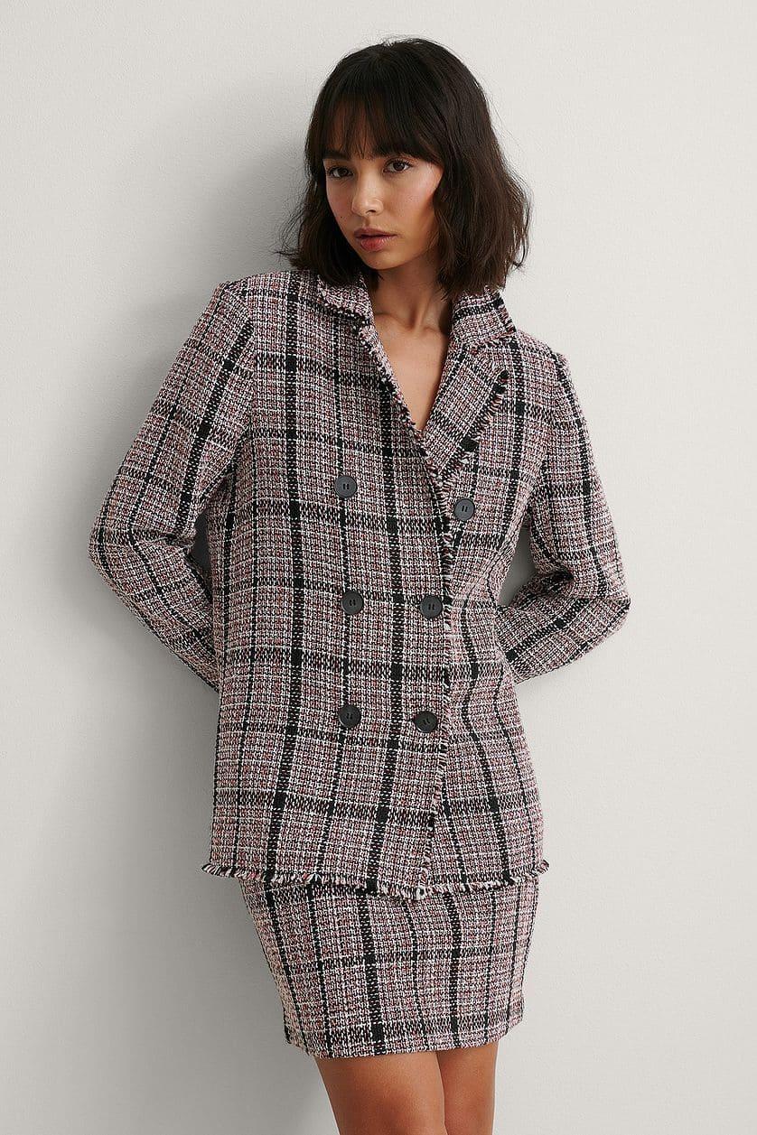 Rutig tweed kavaj för kvinna 2021