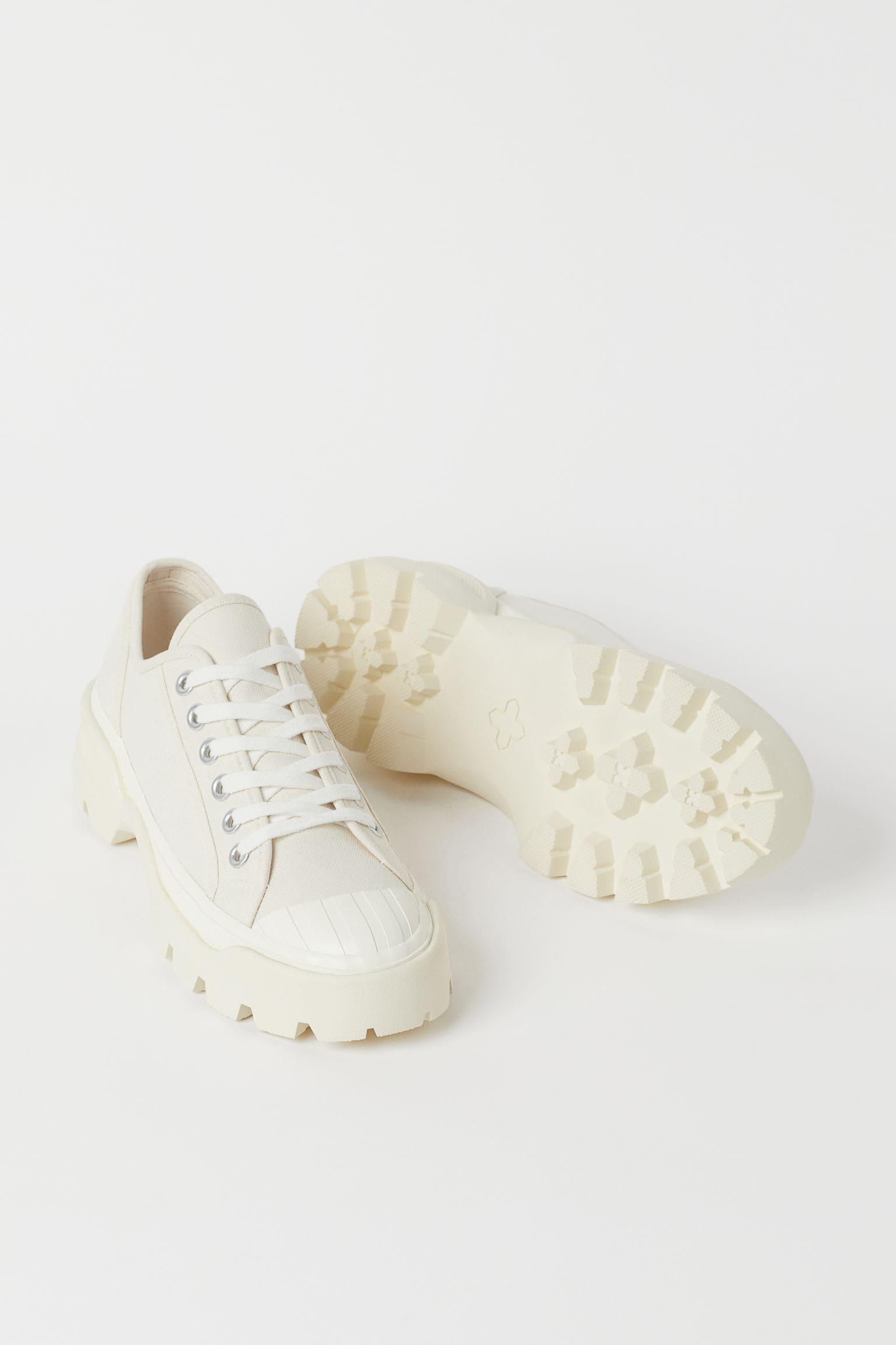 Chunky sneakers i bomullscanvas
