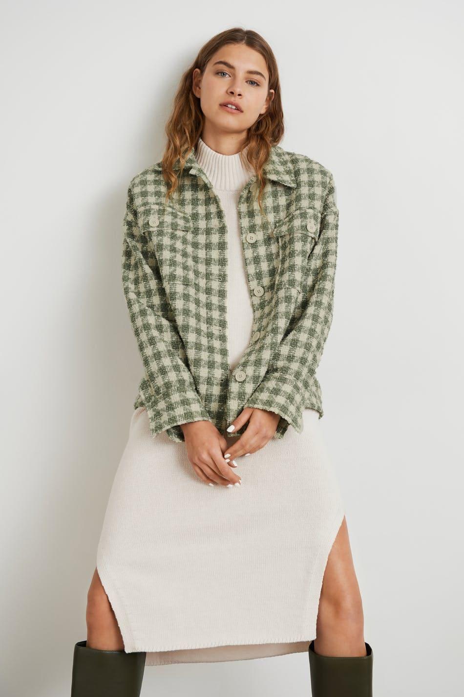 Grön rutig jacka / shacket med bröstfickor