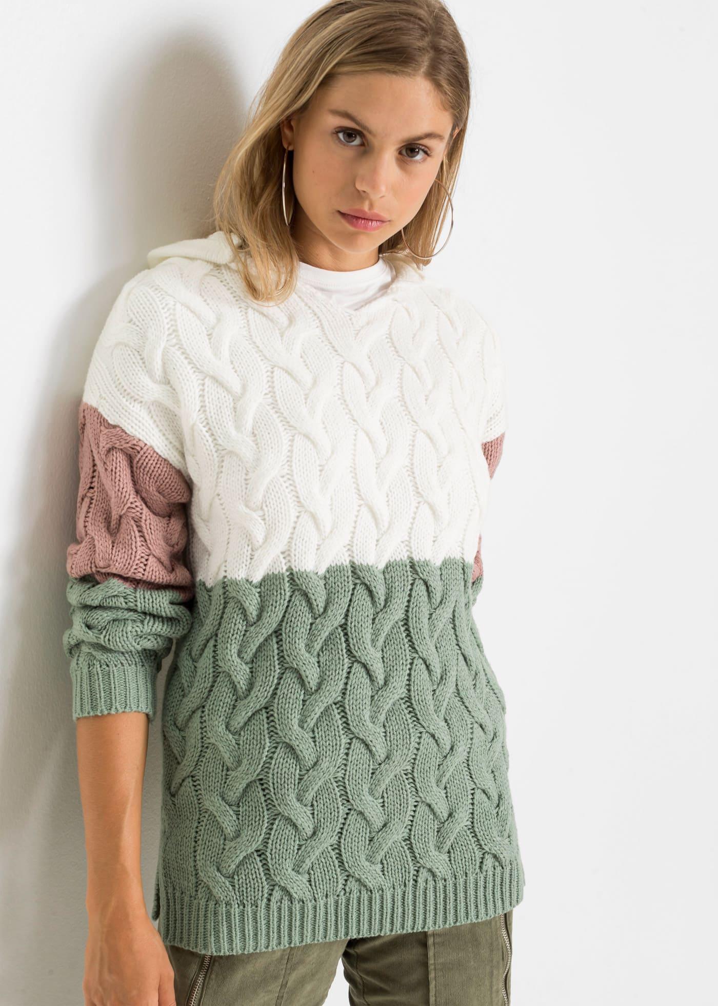 Randig stickad tröja med huva för dam 2021