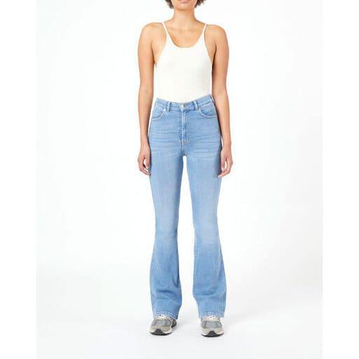 Blåa jeans i flared fit för dam 2021