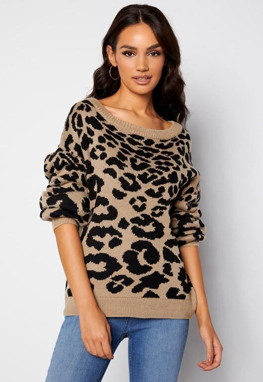 Snygg, stickad tröja i leopardmönster för dam 2021