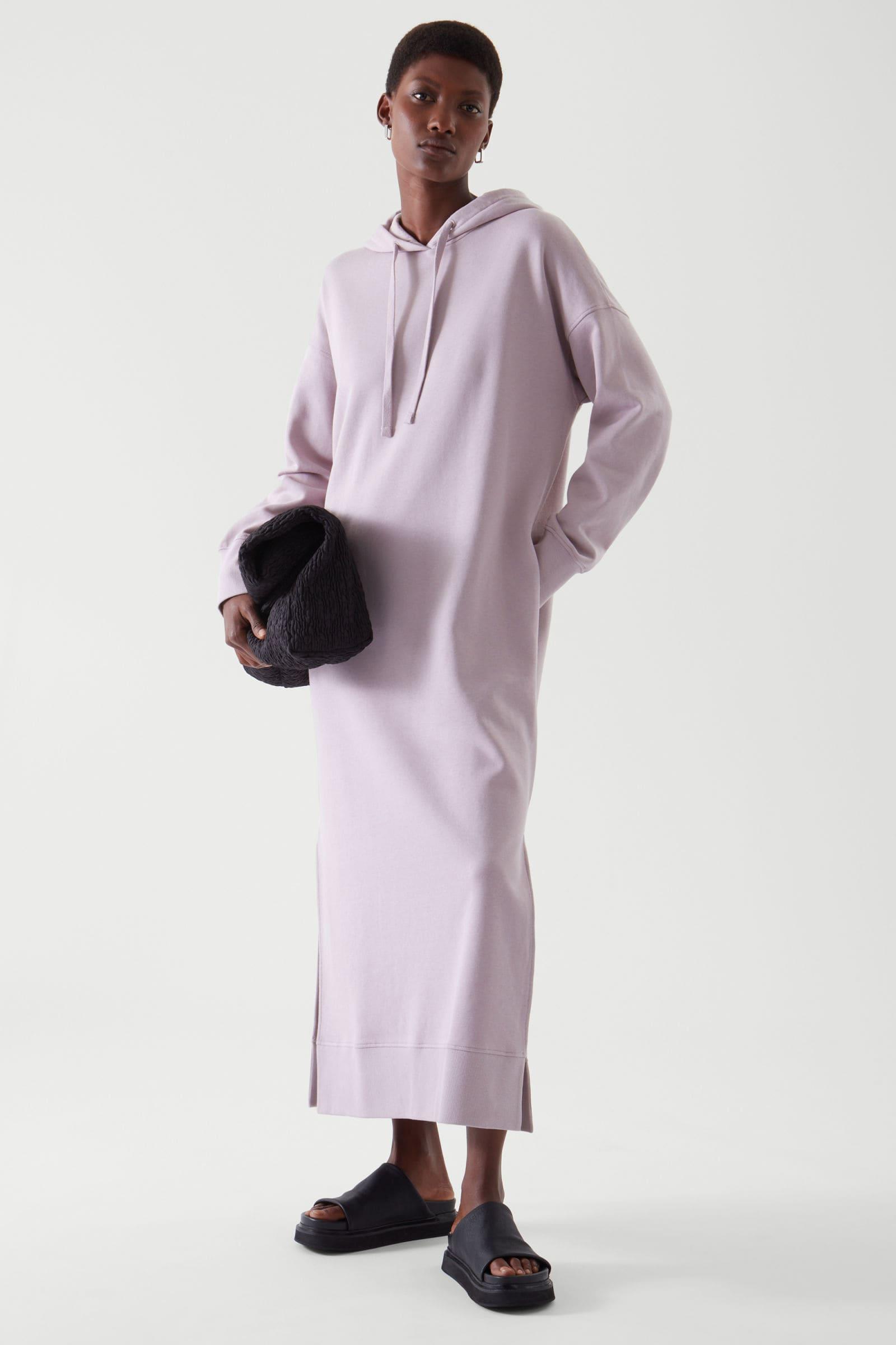 Hoodie klänning i pastellrosa