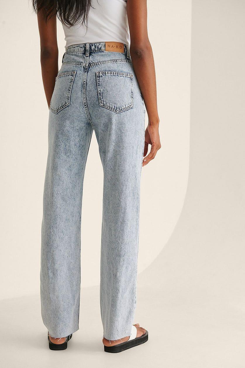 Ekologiska raka jeans med rå fåll för dam 2021