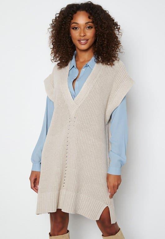 Stickad väst klänning för dam hösten 2021