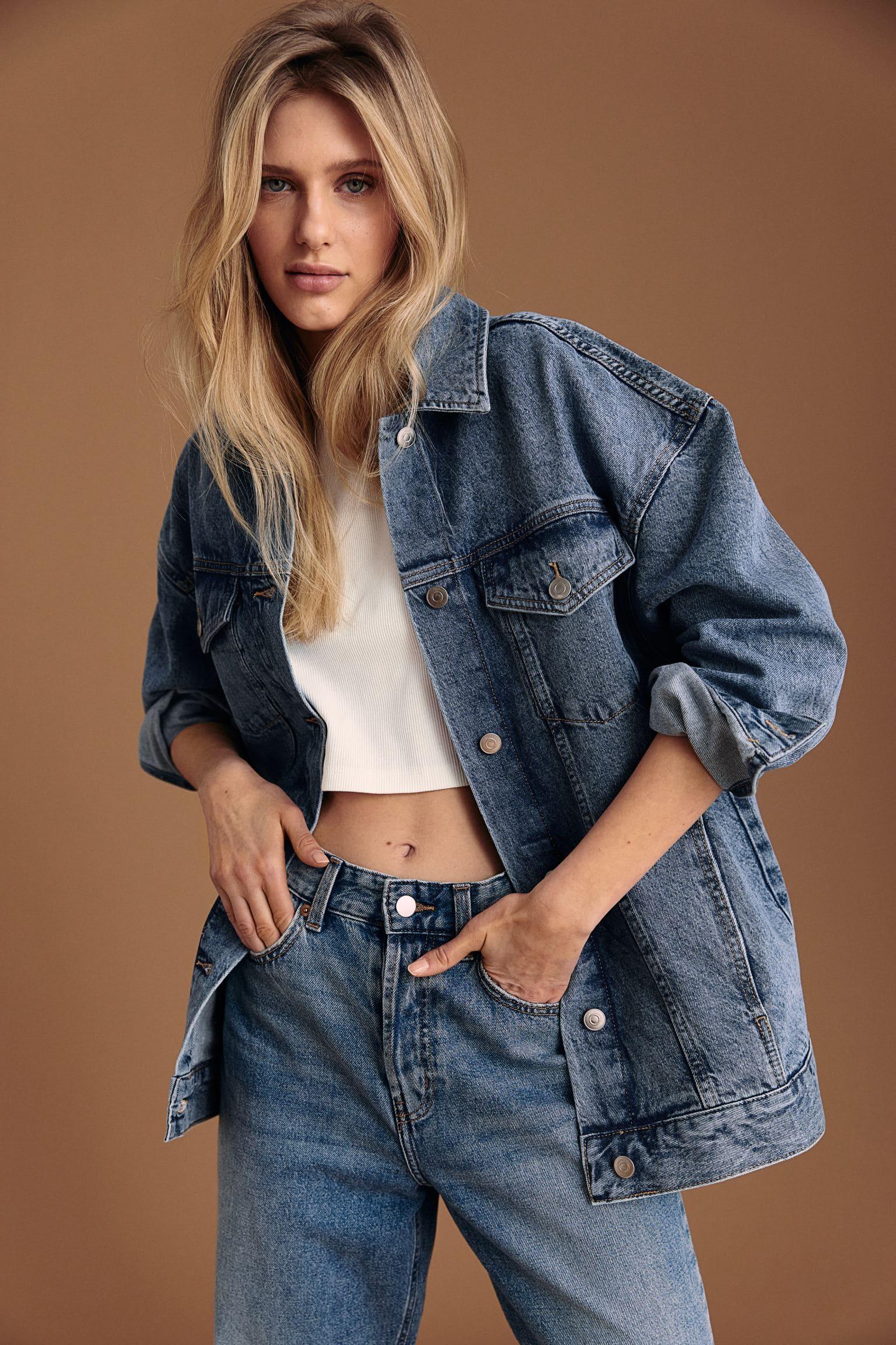 Oversized jeansjacka i denim och bomull för dam 2021