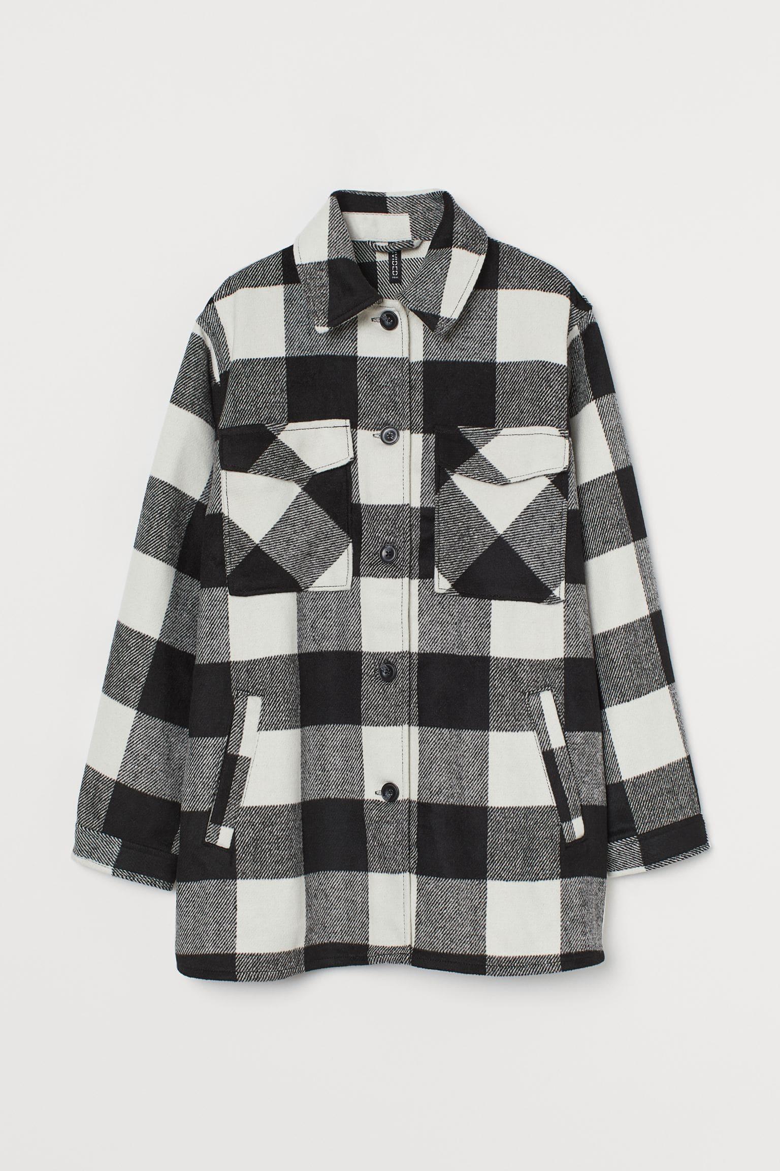 Oversized skjortjacka i svart och vitt