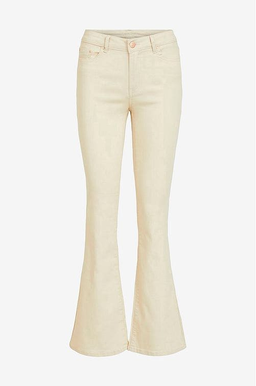 Beigea jeans i smal modell med normalhög midja