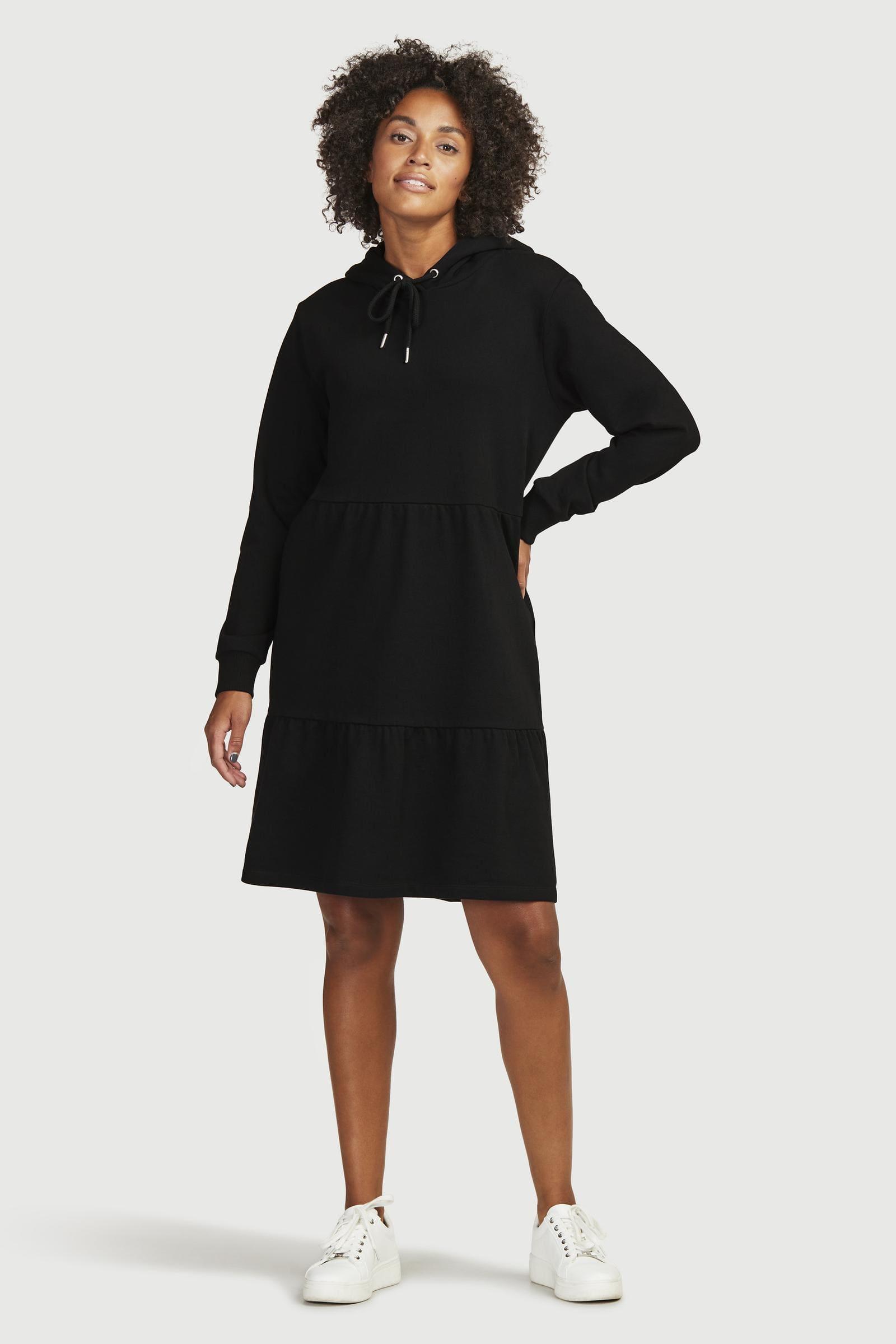 Sweatshirtklänning med rynkade volanger