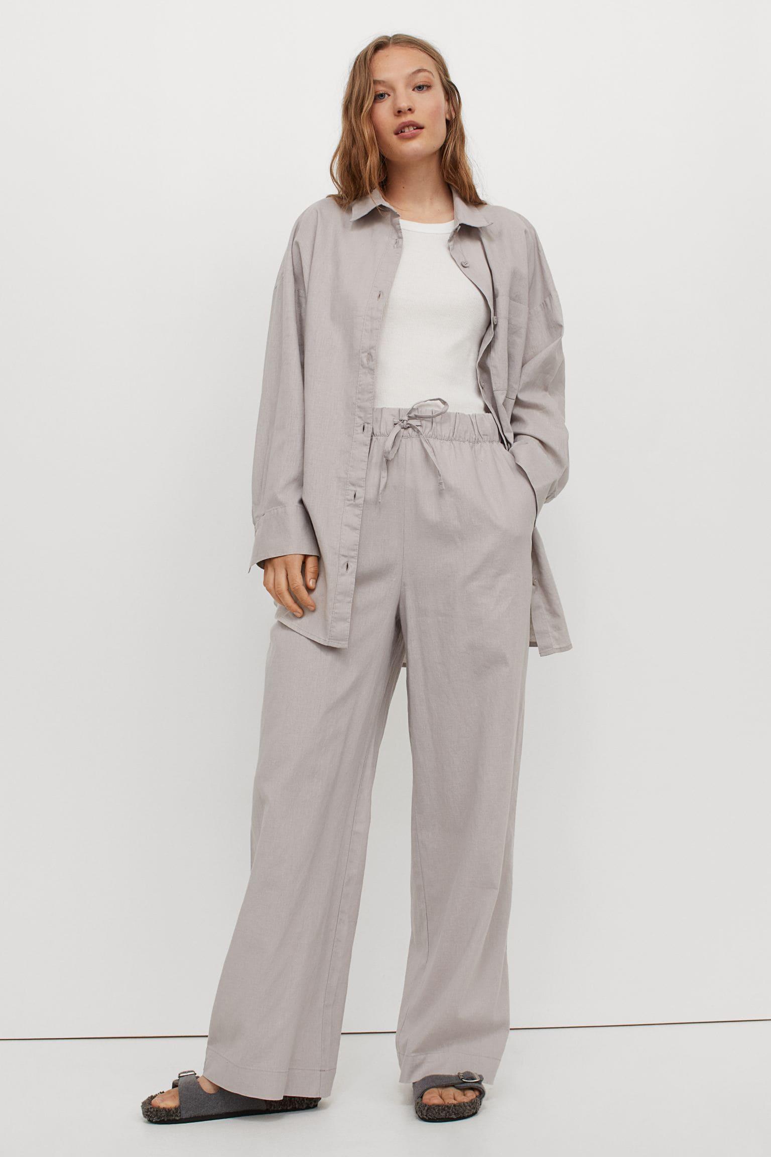 Långa pyjamasbyxor i linneblandning för dam från H&M
