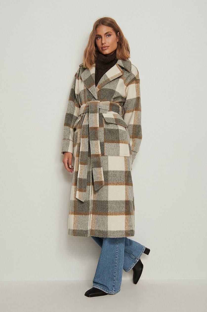 Rutig oversize kappa med bälte för dam