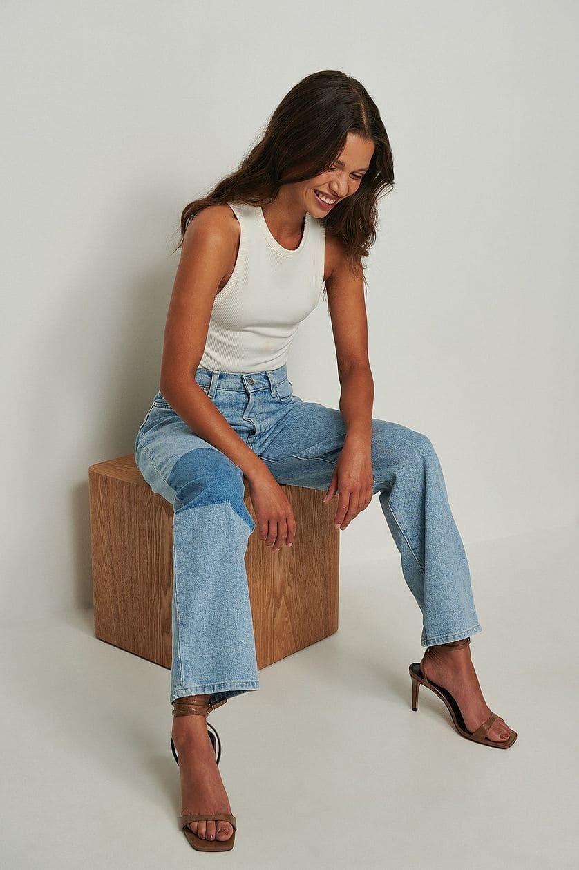Croppade jeans med kontrastdetalj för dam 2021