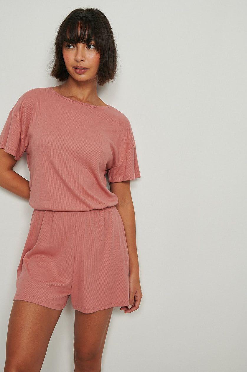 Playsuit pyjamas / mysdress i rosa