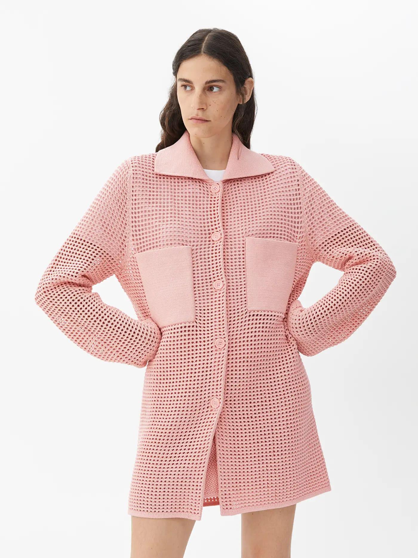 Rosa virkad cardigan för dam 2021
