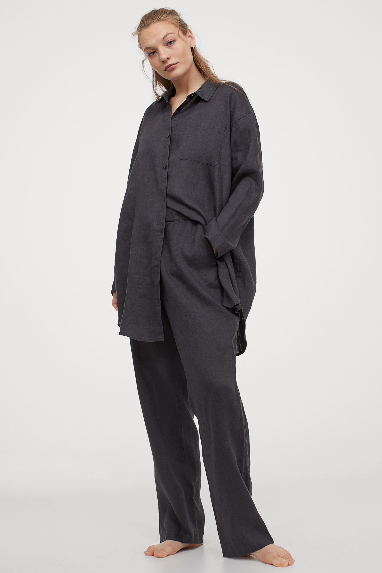 Grå / Svarta pyjamasbyxor i linne