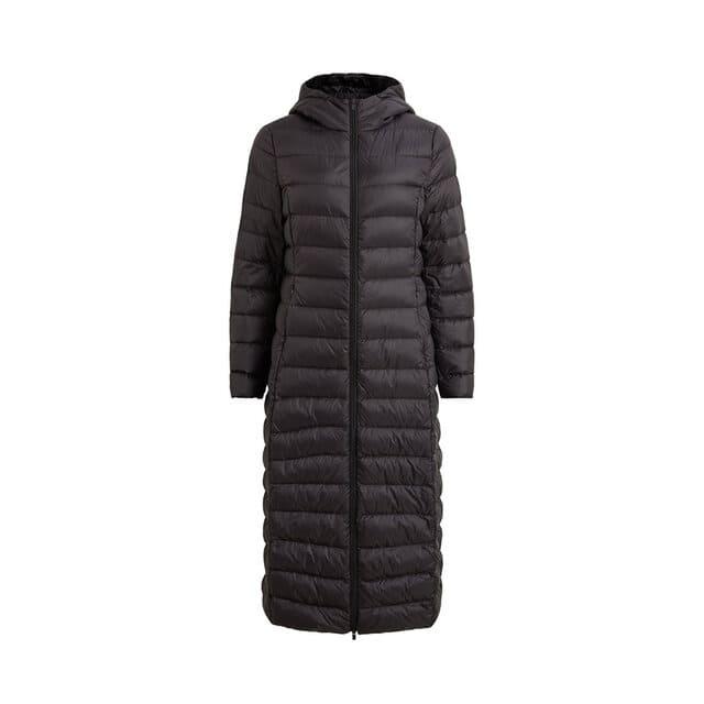 Lång puffer jacket för dam i svart