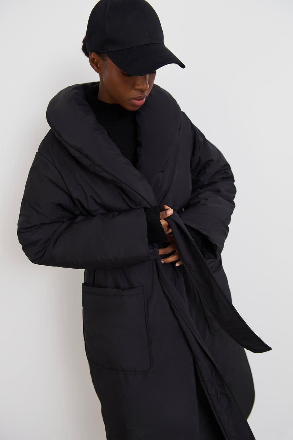 Svart lång puffer jacket i oversize fit